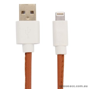 PU Leather Data Charge Sync Lighting Cable Brown