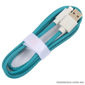 PU Leather Data Charge Sync Lighting Cable Aqua × 2