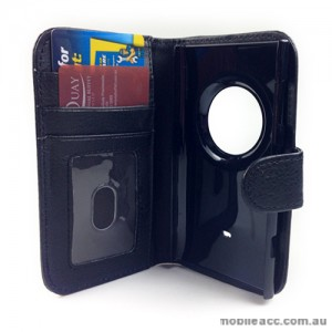 Synthetic Leather Wallet Case for Nokia Lumia 1020 - Black