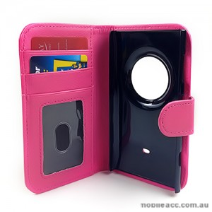 Synthetic Leather Wallet Case for Nokia Lumia 1020 - Hot Pink