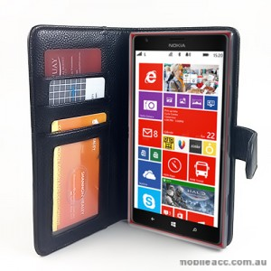 Synthetic Leather Wallet Case for Nokia Lumia 1520 - Black