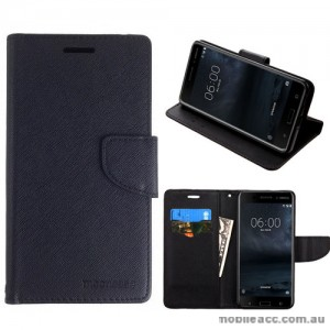 Mooncase Stand Wallet Case For Nokia 8 - Black