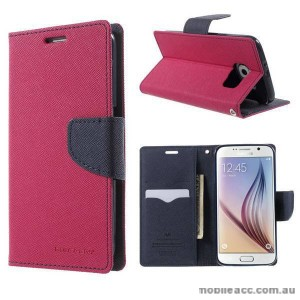 Korean Mercury Fancy Diary Wallet Case Cover for Samsung Galaxy S6 Hot Pink
