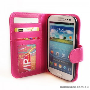 Litchi Skin Wallet Case with ID Slot for Samsung Galaxy S3 i9300 - HotPink