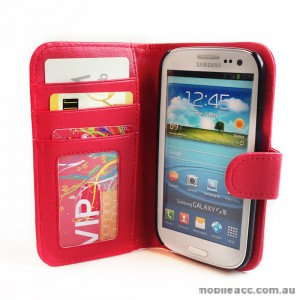 Litchi Skin Wallet Case with ID Slot for Samsung Galaxy S3 i9300 - Red