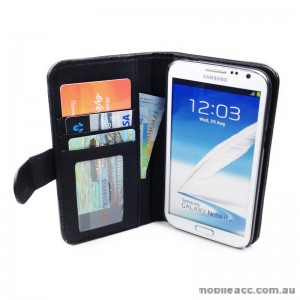 PU Leather Wallet Case for Samsung Galaxy Note2 - Black