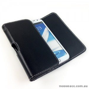Litchi Skin Synthetic Leather Side Pouch for Universal phone size 5.5-5.7 inches - Black