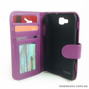 Litchi Skin Synthetic PU Leather Wallet Case for Samsung Galaxy Ativ S i8750 - Purple