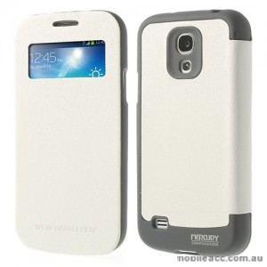 Korean WOW Window View Flip Cover for Samsung Galaxy S4 - White