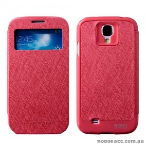 Korean WOW Window View Flip Cover for Samsung Galaxy S4 - Hot Pink