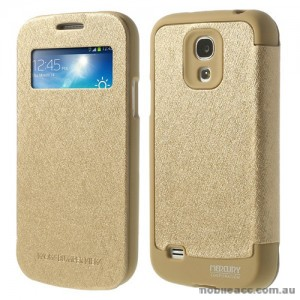 Korean WOW Window View Flip Cover for Samsung Galaxy S4 - Gold