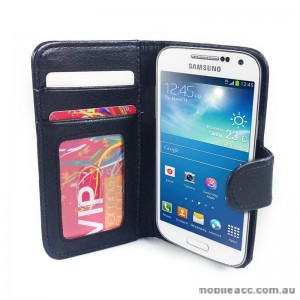 Litchi Skin Wallet Case for Samsung Galaxy S4 IV mini i9195 - Black