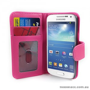Litchi Skin Wallet Case for Samsung Galaxy S4 IV mini i9195 - Hot Pink