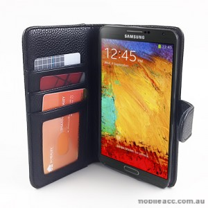 Synthetic Leather Wallet Case for Samsung Galaxy Note 3 N9000 N9005 - Black
