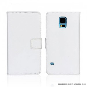 Synthetic Leather Wallet Case Cover for Samsung Galaxy S5 - White