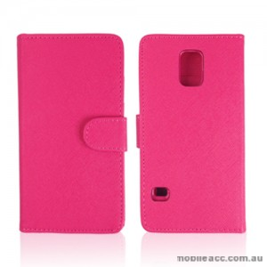 Synthetic Leather Wallet Case Cover for Samsung Galaxy S5 - Hot Pink