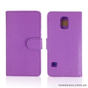 Synthetic Leather Wallet Case Cover for Samsung Galaxy S5 - Purple