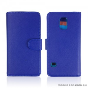 Synthetic Leather Wallet Case Cover for Samsung Galaxy S5 - Blue