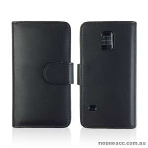 Synthetic Leather Wallet Case for Samsung Galaxy S5 Mini - Black