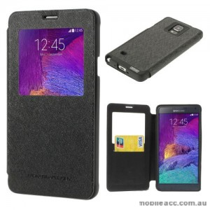 Korean WOW Window View Flip Cover for Samsung Galaxy Note 4 - Black