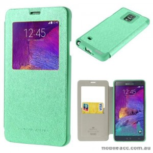 Korean WOW Window View Flip Cover for Samsung Galaxy Note 4 - Green