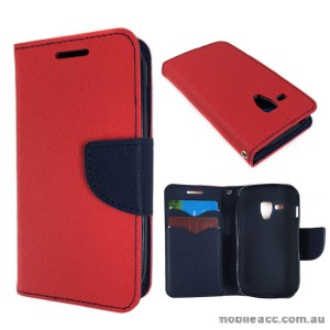 Wisecase Wallet Case Cover for Telstra Samsung Galaxy Trend Plus Red