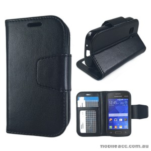 Synthetic Leather Wallet Case for Samsung Galaxy Young 2 - Black