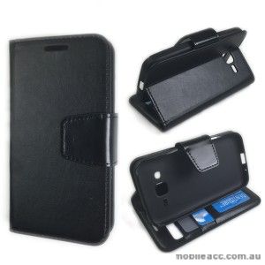 Samsung Galaxy Core Prime Stand Wallet Case Cover - Black