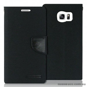 Korean Mercury Canvas Diary Wallet Case for Samsung Galaxy S6 Black