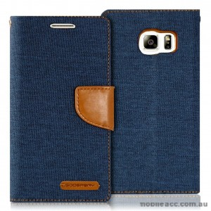 Korean Mercury Canvas Diary Wallet Case for Samsung Galaxy S6 Edge Navy