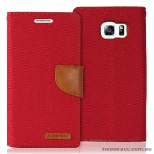 Korean Mercury Canvas Diary Wallet Case for Samsung Galaxy S6 Red