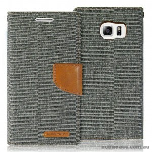Korean Mercury Canvas Diary Wallet Case for Samsung Galaxy S6 Edge Grey