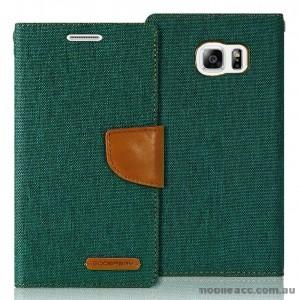 Korean Mercury Canvas Diary Wallet Case for Samsung Galaxy S6 Green