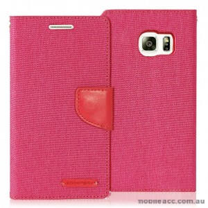 Korean Mercury Canvas Diary Wallet Case for Samsung Galaxy S6 Edge Pink