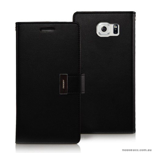 official photos 2830a 657fe Korean Mercury Rich Diary Wallet Case for Samsung Galaxy S6 Edge Black