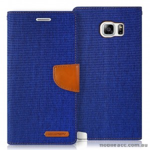 Korean Mercury Canvas Diary Wallet Case for Samsung Galaxy S6 Edge Blue