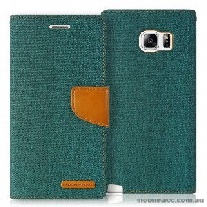 Korean Mercury Canvas Diary Wallet Case for Samsung Galaxy S6 Edge Green