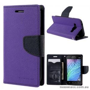 Mercury Goospery Fancy Diary Wallet Case for Samsung Galaxy J1 Purple