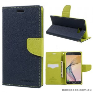 Mercury Goospery Fancy Diary Wallet Case For Samsung Galaxy J7 Prime - Navy