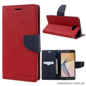 Mercury Goospery Fancy Diary Wallet Case For Samsung Galaxy J7 Prime - Red