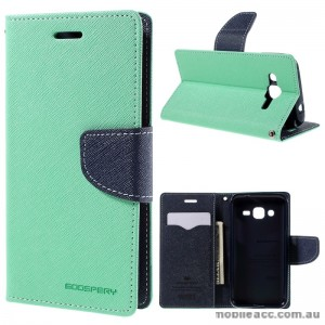 Korean Mercury Fancy Dairy Wallet Case For Samsung Galaxy J2 - Mint Green