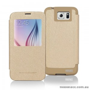 Korean Mercury WOW View Cover for Samsung Galaxy S6 Edge Gold