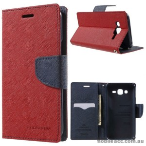 Korean Mercury Fancy Diary Wallet Case Cover for Samsung Galaxy J3 2016 Red