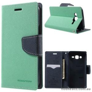 Korean Mercury Fancy Diary Wallet Case Cover for Samsung Galaxy J3 2016 Mint