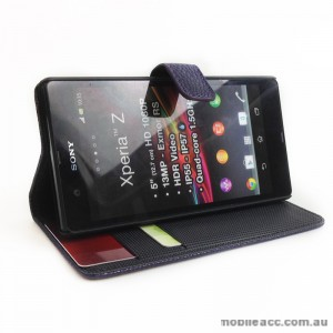 Synthetic PU Leather Wallet Case for Sony Xperia Z - Dark Purple