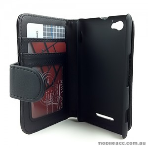Synthetic Leather Wallet case for Sony Xperia M - Black