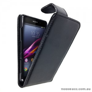 Synthetic Leather Flip Case with Wallet Card Holders for Sony Xperia Z1 Compact - Black