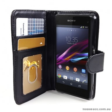 Synthetic Leather Wallet Case Cover for Sony Xperia Z1 Compact - Black