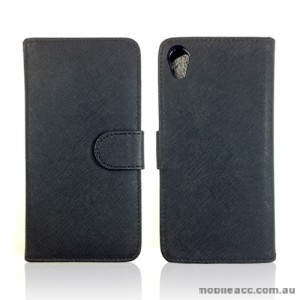 Synthetic Leather Wallet Case Cover for Sony Xperia Z2 D6503 - Black