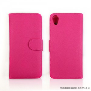 Synthetic Leather Wallet Case Cover for Sony Xperia Z2 D6503 - Hot Pink